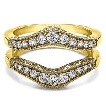 TwoBirch Sterling Silver Vintage Filigree and Milgrained Contour Ring Guard With Cubic Zirconia (0.75 ct.)