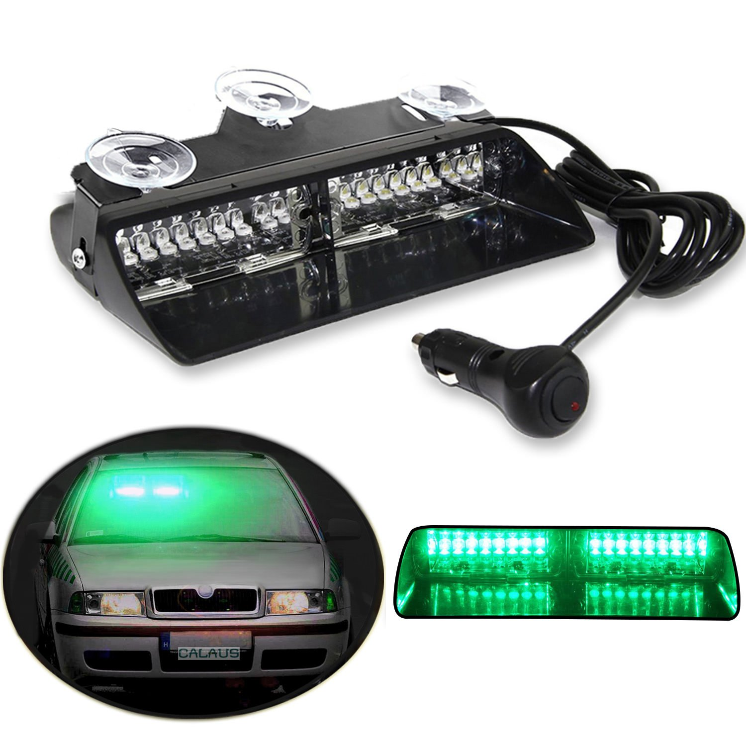 CALAUS 16 LED High Intensity Car Auto Windshield Law Enforcement Emergency Hazard Lamp Warning Strobe Lights With Suction Cups - Green