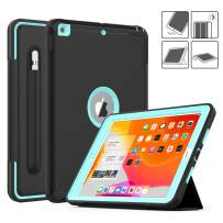 DAORANGE iPad 7th Generation case 10.2 inch 2019, Heavy Shockproof Full Body ProtectiveCase Smart Coverwith Auto Wake/Sleep&Tri-fold stand[Pencil Holder] for iPad 7th Gen 10.2'' 2019 (Black/Skyblue)