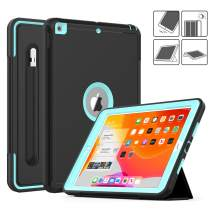 DAORANGE iPad 7th Generation case 10.2 inch 2019, Heavy Shockproof Full Body Protective Case Smart Cover with Auto Wake/Sleep&Tri-fold stand[Pencil Holder] for iPad 7th Gen 10.2'' 2019 (Black/Skyblue)