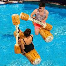 FUDOSAN Inflatable Pool Floats Pool Party Play Boat Raft Collision Toys Wood Grain Seat Mounts Water Swimming Floating Row for Kids, Max Weight 130 lbs