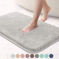 "VANZAVANZU Bathroom Rugs 16""x24"" Ultra Soft Absorbent Non Slip Fluffy Thick Microfiber Cozy Grey Bath Mat for Tub Shower Bathroom Floors Accessories (Light Gray)"