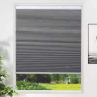 """SUNFREE Cellular Shades Blackout Blinds Cordless Honeycomb Window Shades for Bedroom, Blinds for Window and Door, Home and Office, Grey, 34"""" W x 36"""" H"""