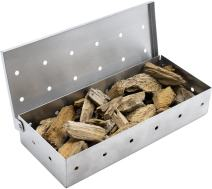 Sorbus Smoker Box for Wood Chips - Adds Smokey BBQ Flavor on Gas or Charcoal Grills - Ideal Grilling Accessories for Barbecue Meat Smoking - Hinged Lid - Heavy Duty Stainless Steel
