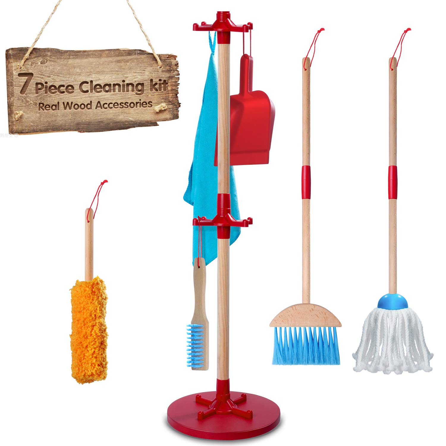 Wooden Detachable Toy Cleaning Set, Kids Cleaning Toys 7 Piece -Includes Kid-Sized with Housekeeping Broom, Mop, Duster, Dustpan, Brush, Rag, and Hanging Stand Play Kitchen Cleaning Tools for Kid Gift