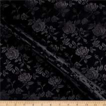 Ben Textiles Inc. Rose Satin Jaquard Black, Fabric by the Yard