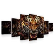 Startonight Huge Canvas Wall Art - Powerful Tiger Large Framed Set of 7 40 x 95 Inches