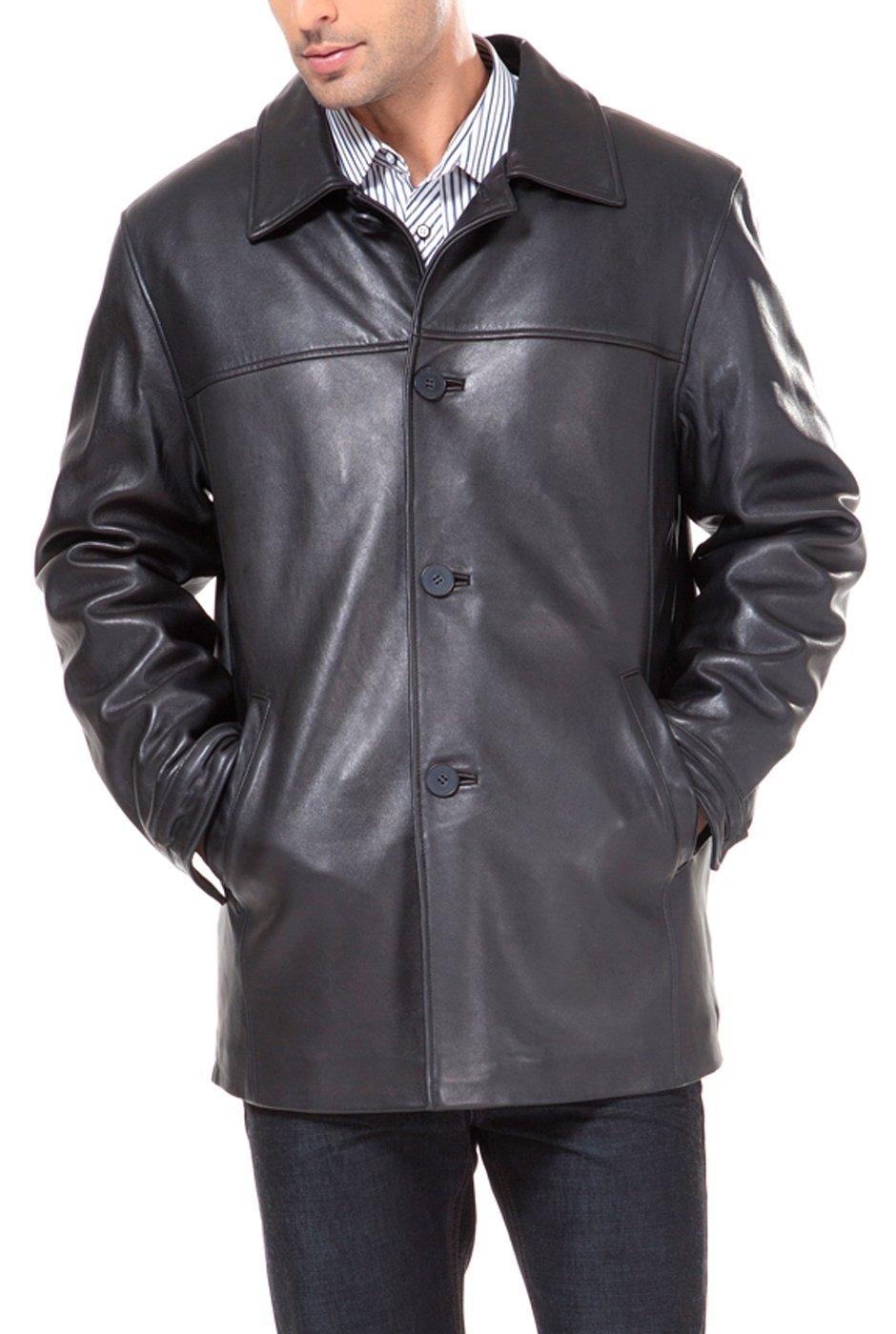BGSD Men's Samuel New Zealand Lambskin Leather Car Coat (Regular and Big & Tall and Short Sizes)