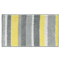"""iDesign Stripz Bath, Machine Washable Microfiber Accent Rug for Bathroom, Kitchen, Bedroom, Office, Kid's Room, 21"""" x 34"""", Gray and Yellow"""