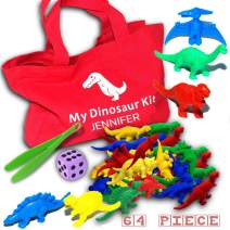 Counting Dinosaurs Kit 67pc with Customizable Bag, Tweezers and Dice- Montessori Toys for Toddlers - Perfect Preschool Toys and Autism Toys