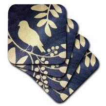 3dRose CST_39683_1 Ivory Bird on Navy Blue Soft Coasters, Set of 4