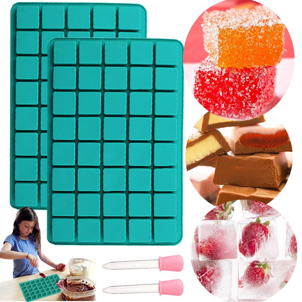 JeVenis 40 Cavity Chocolate Mold Candy Molds Gummy Mold Ice Cube Tray with Silicone Dropper Clip