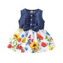 Kucnuzki Toddler Girl Outfits Baby Sunflower Princess Dresses Denim Summer Sleeveless Clothes Jean Tutu Skirts for Girls