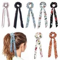 Jaciya 7 Pcs Hair Scrunchies for Hair, Chiffon Bow Scrunchies Elastic Hair Bands Scrunchy Hair Ties Ropes Scrunchie for Women Hair Accessories - 7 Assorted Colors Scrunchies