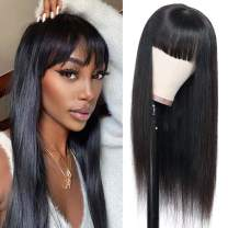 Straight Human Hair Wigs with Bangs Brazilian Virgin Hair Wigs None Lace Front Wigs Glueless Machine Made Wigs for Black Women 150% Density Natural Color (16 Inch)