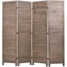 """FDW 4 Panel Wood Room Divider 5.75 Ft Tall Privacy Wall Divider Folding Wood Screen 68.9"""" x 15.75"""" Each Panel for Home Office Bedroom Restaurant (Brown)"""