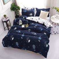Mengersi Star Galaxy Bedding Set Duvet Cover Set for Teen Kids Boys Gift Solar System Pattern (Twin, Dark Blue)