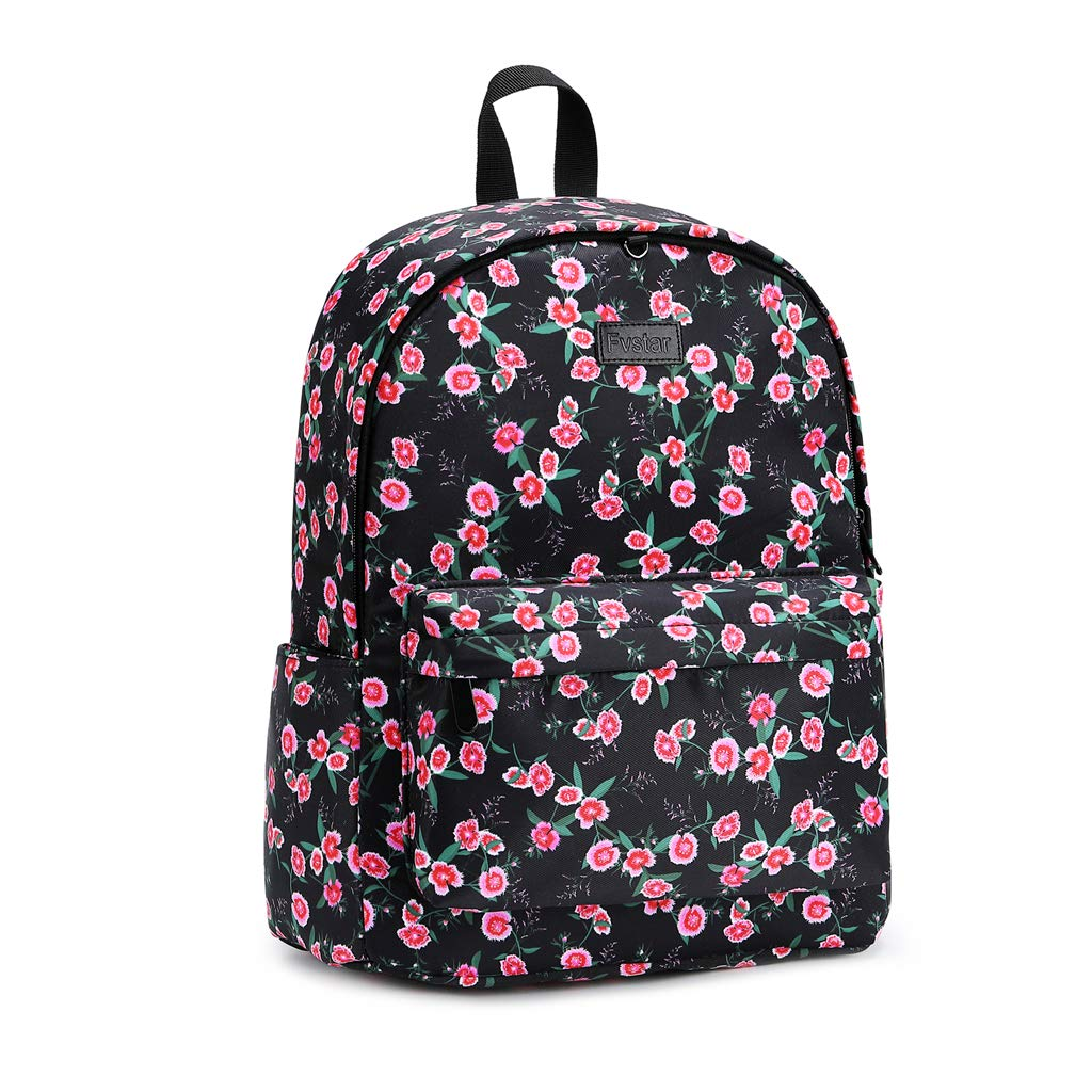 Fvstar Floral Girls Backpack Purse Water Resistant Canvas Travel Rucksack Pack Teens Shoulder School Satchel College Lapatop Bag Women Backpack with Trolley Strap
