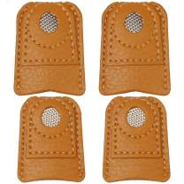 Pimoys 4 Pieces Sewing Leather Thimble Finger Protector Coin Thimble Pads for Craft Hand Sewing Quilting Knitting Pin Needles DIY Tools, 2 Sizes