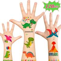 120pcs Dinosaur Temporary Tattoos, Party Supplies for kids and Adult, Dinosaur Games Favors Party Decor Birthday Gift for Girls Boys