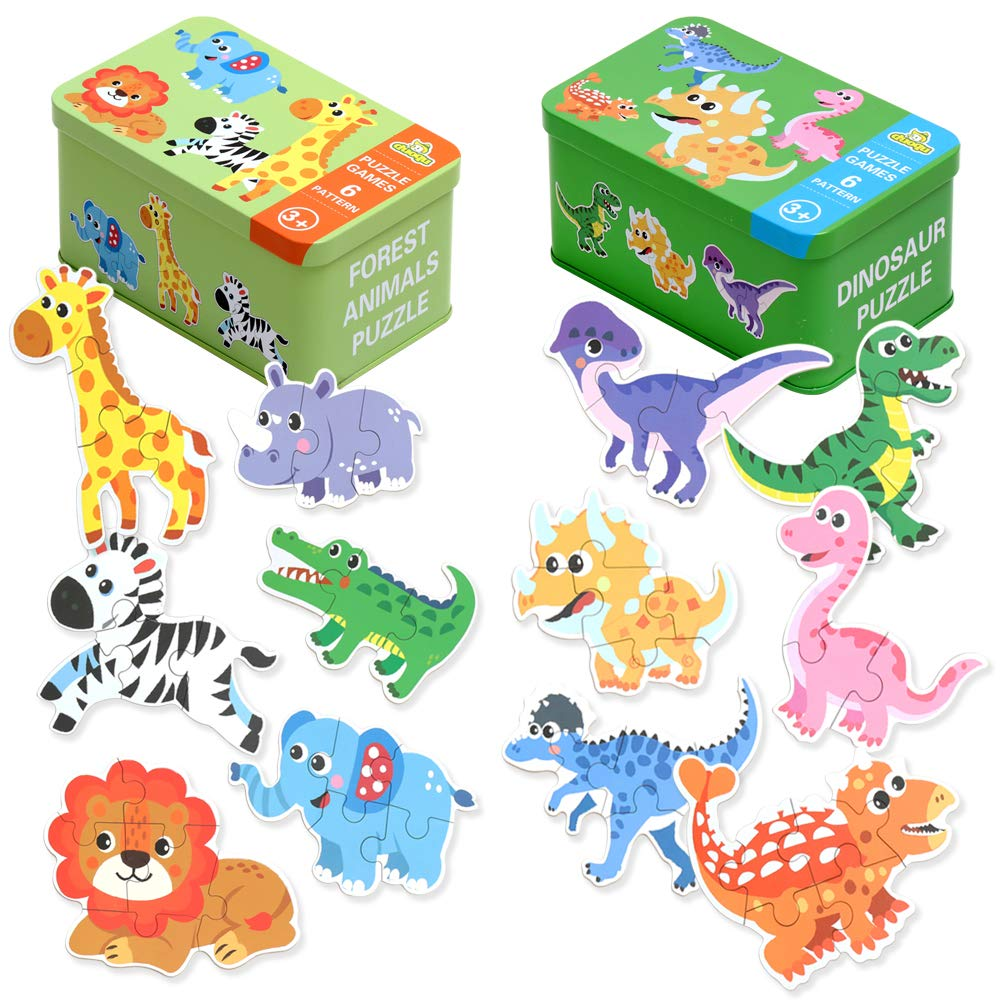 Jigsaw Puzzles for Toddlers 2-4 Years Old with Storage Box, Beginner Puzzles for Preschool Kids Best Animal Learning Educational Toy-Dinosaurs, Giraffe, Elephant, Lion, etc, Great Gift for Girl & Boy