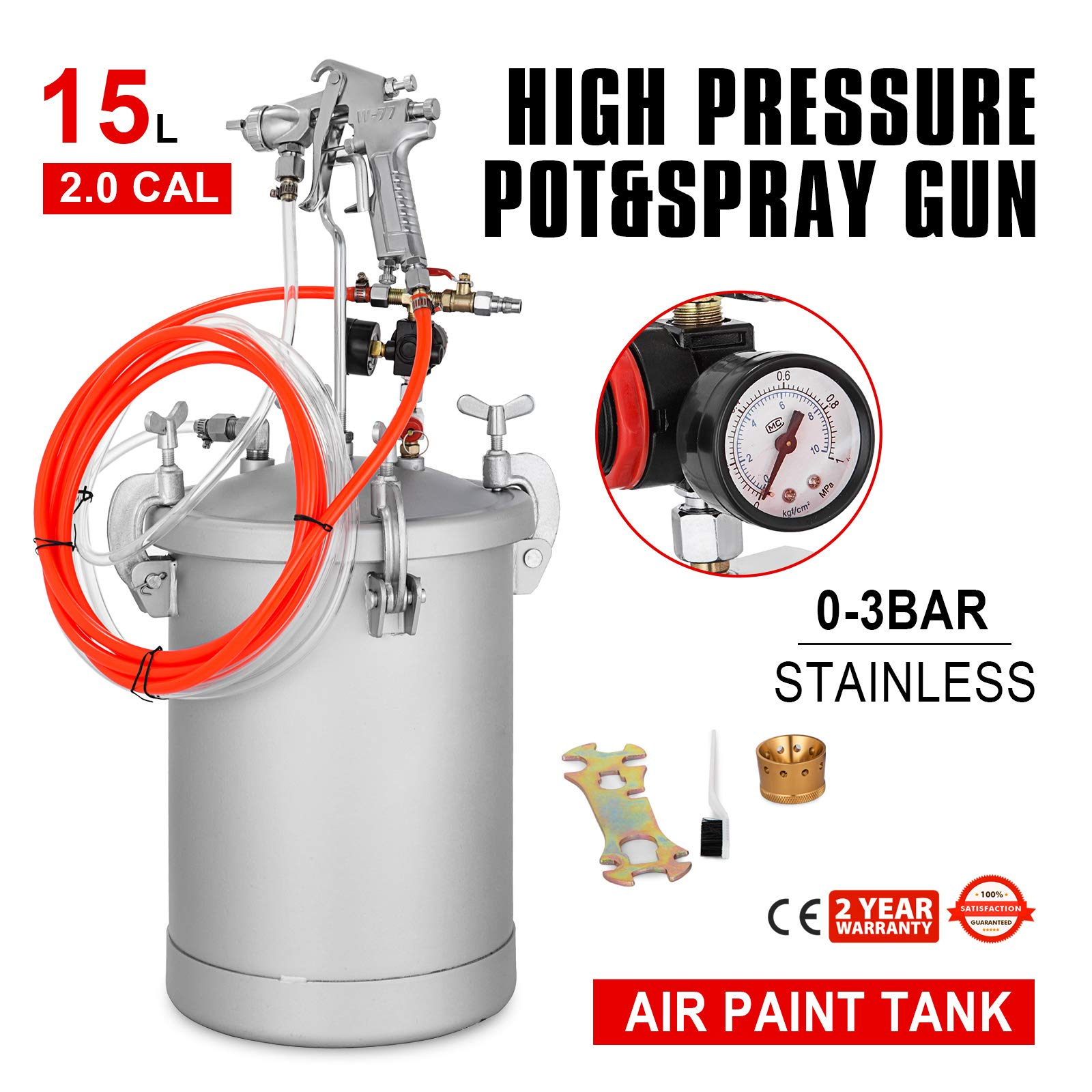 VEVOR Paint Tank 15L Pressure Pot Paint Sprayer 4 Gallon Pressure Spray Gun with 2.0mm Nozzle Regulator Industrial Painting Painter (15L 2.0mm)