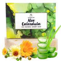 Aloe Vera & Calendula Soap-100% Natural Antibacterial Face & Body Wash.Purifying Cleanse For All Skin Types.Sensitive Skin Face & Body Soap + Shaving Soap. Women,Men,Baby,Teens.Handcrafted In U.S.A