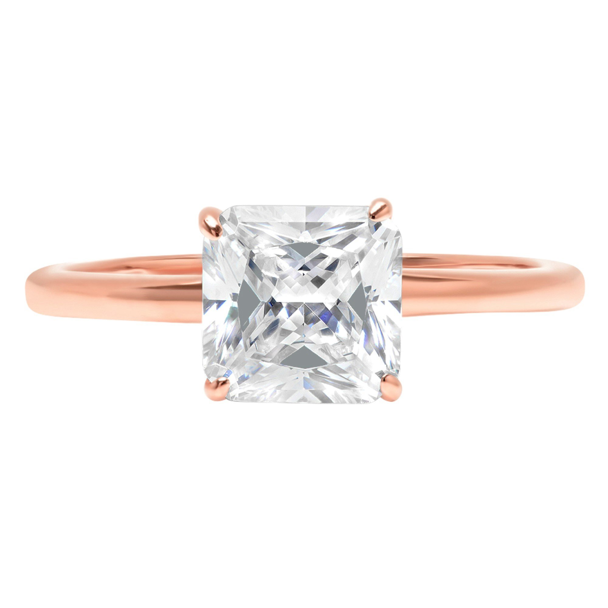 0.95ct Brilliant Asscher Cut Solitaire Highest Quality Moissanite Ideal D 4-Prong Statement Ring in Solid Real 14k Rose Gold for Women