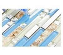 TST Glass Inner Conch Tile Beach Style Blue Cream White Brushed Steel Art Mosaic Kitchen Backsplash Bath Decor TSTNB06 (5 Square Feet)