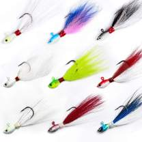 Dr.Fish Bucktail Jig Fluke Lure Saltwater Freshwater Baits Assorted Kit Bass Striper Bluefish Surf Fishing White, Chartreuse, Red,Yellow 1/2 oz, 1oz, 2 oz,4 oz,6 oz Pack of 3