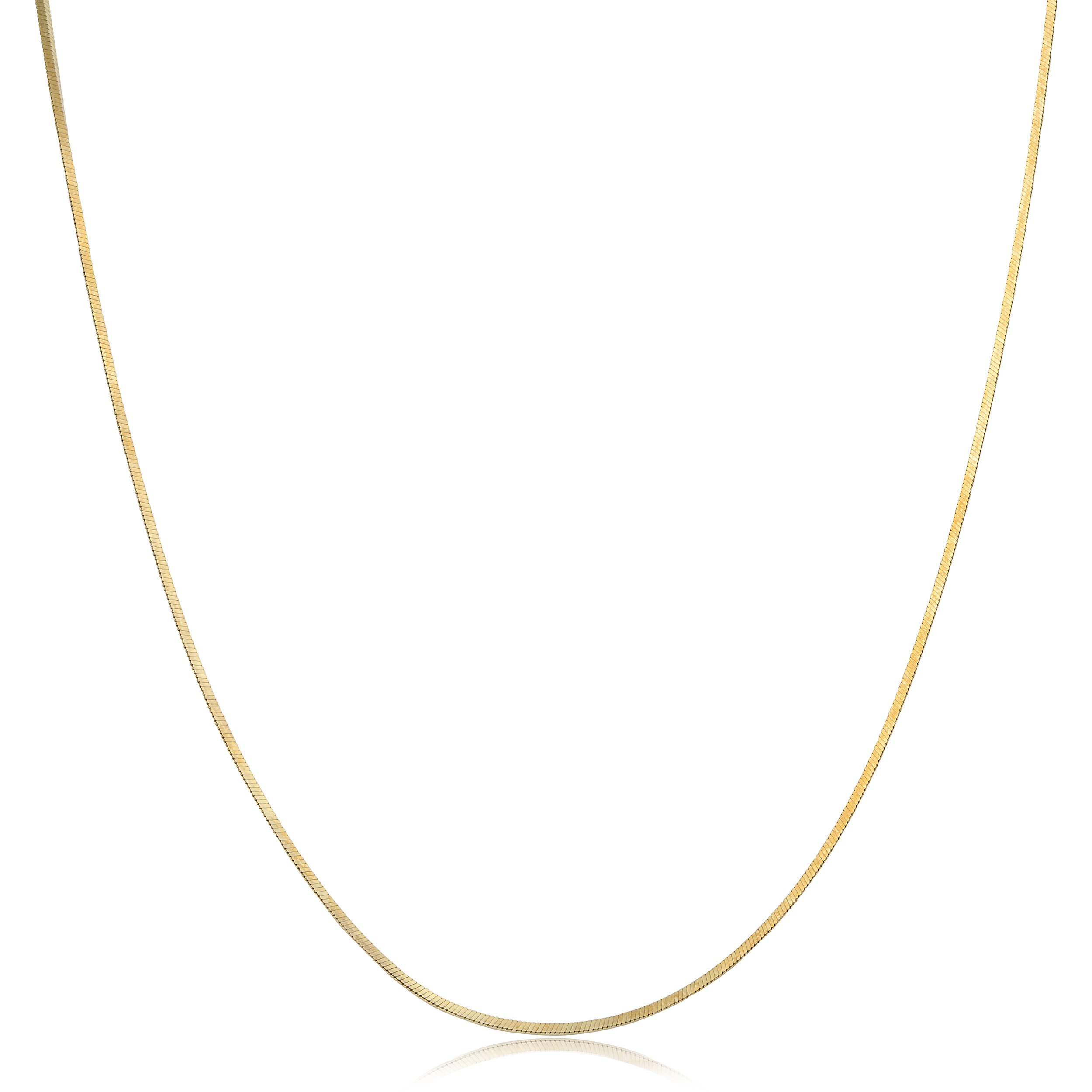 Kooljewelry 14k Yellow Gold Square Snake Chain Necklace (0.9 mm, 18 inch)