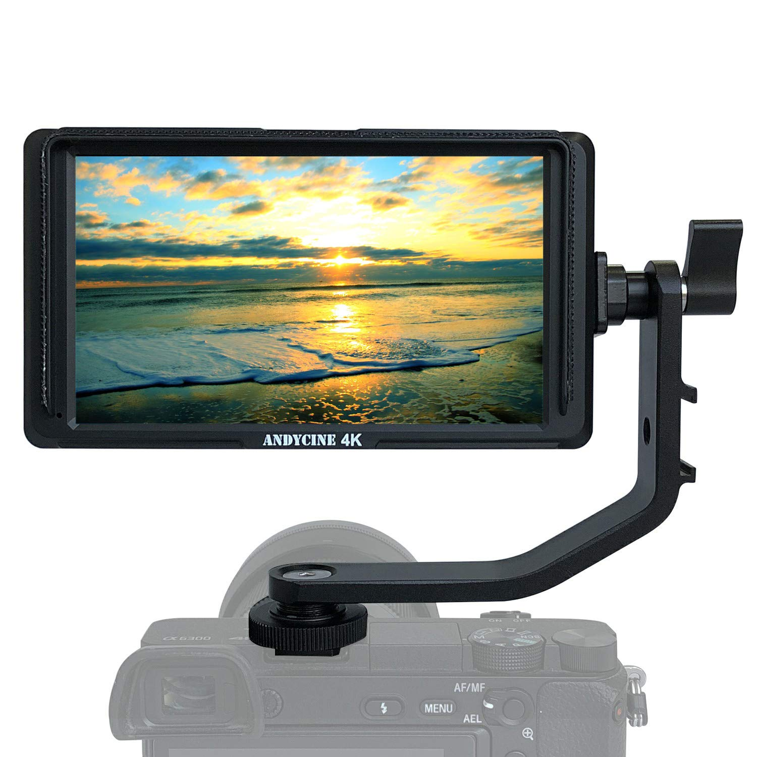 """Andycine A6 Lite + Storage Case + F550 Battery + Charger, 5"""" IPS Full HD IPS 1920x1080 DSLR Video Peaking Focus Assist with 4K Input Output HDMI 8.4V DC Included Battery/Charger Tilt Arm"""