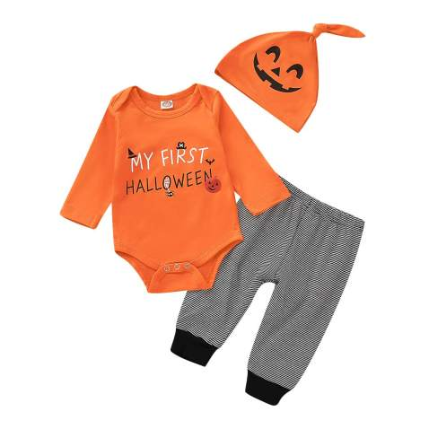 3Pcs Infant Baby Boys Girls Halloween Pumpkin Long Sleeve Romper My First Halloween Outfit Set with Pants Ghost Hat
