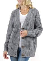 LEANI Women's Long Sleeve V Neck Waffle Button Knit Cardigan Sweater Solid Color Tops with Pockets