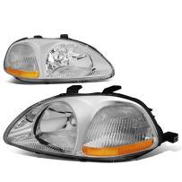 Chrome Housing Amber Corner Headlight Headlamp - Pair - Replacement for Honda Civic 96 97 98