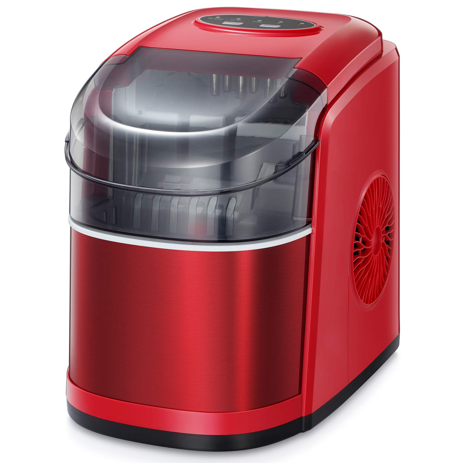 Kismile Countertop Ice Maker Machine,26Lbs/24H Compact Automatic Ice Makers,9 Cubes Ready in 6-8 Minutes,Portable Ice Cube Maker with self-cleaning program (Red)