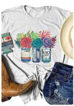 Women Busch Light Beer T-Shirt Cactus Graphic Funny Casual Novelty Tee