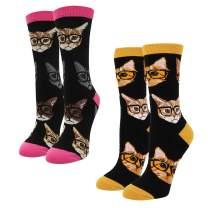 HAPPYPOP Women Unicorn Corgi Cat Alien Socks, Novelty Funny Socks with Gift Box