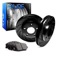 For Mercedes-Benz C280, C230 Rear Black Drill Slot Brake Rotors Kit + Semi-Met Pads