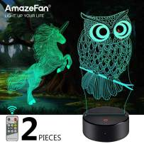 Unicorn, Owl Night Light for Kids - 3D Night Lamp 7 Colors Optical Illusion Touch & Remote Control with 2 Acrylic Flats Best Birthday Christmas New Year Gifts for Boys Girls Kids Baby