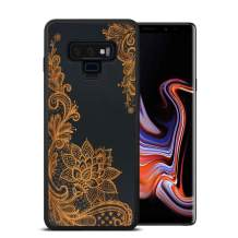 JuBeCo fro Galaxy Note9 Wood Case, Natural Slim Eleghant Bamboo Black Wooden Protective Cover with Soft Gel Rubber Bumper (Flower)