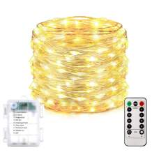 Homemory 200 LED Fairy Lights with Remote, 66FT Battery Operated Long String Lights, 8 Modes Copper Wire Easter Twinkle Lights, Indoor&Outdoor Waterproof, Warm White