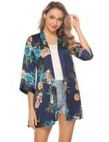Aiboria Women 3/4 Sleeve Casual Kimono Cardigan Sweater