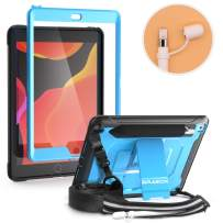 BRAECN iPad 10.2 case 2019,[Pencil Cap Holder],Dual Layer Rugged Shockproof Case with Pencil Holder & Storage Pouch/Built-in Screen Protector/Kickstand/Shoulder Strap for iPad 7th generation case-Blue