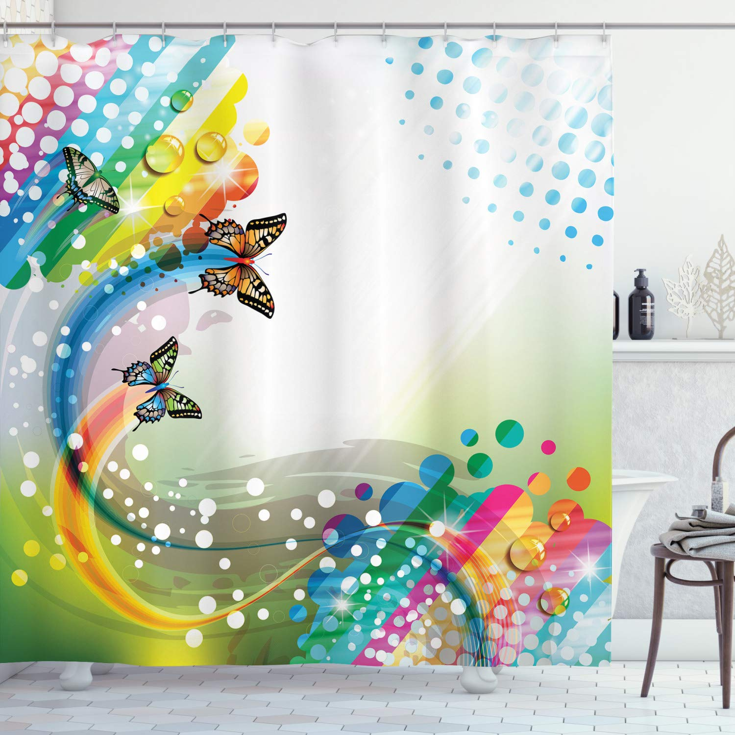 """Ambesonne Colorful Shower Curtain, Trippy Flying Butterflies with Colored Comet Bubbles Creative Design, Cloth Fabric Bathroom Decor Set with Hooks, 75"""" Long, White Green"""