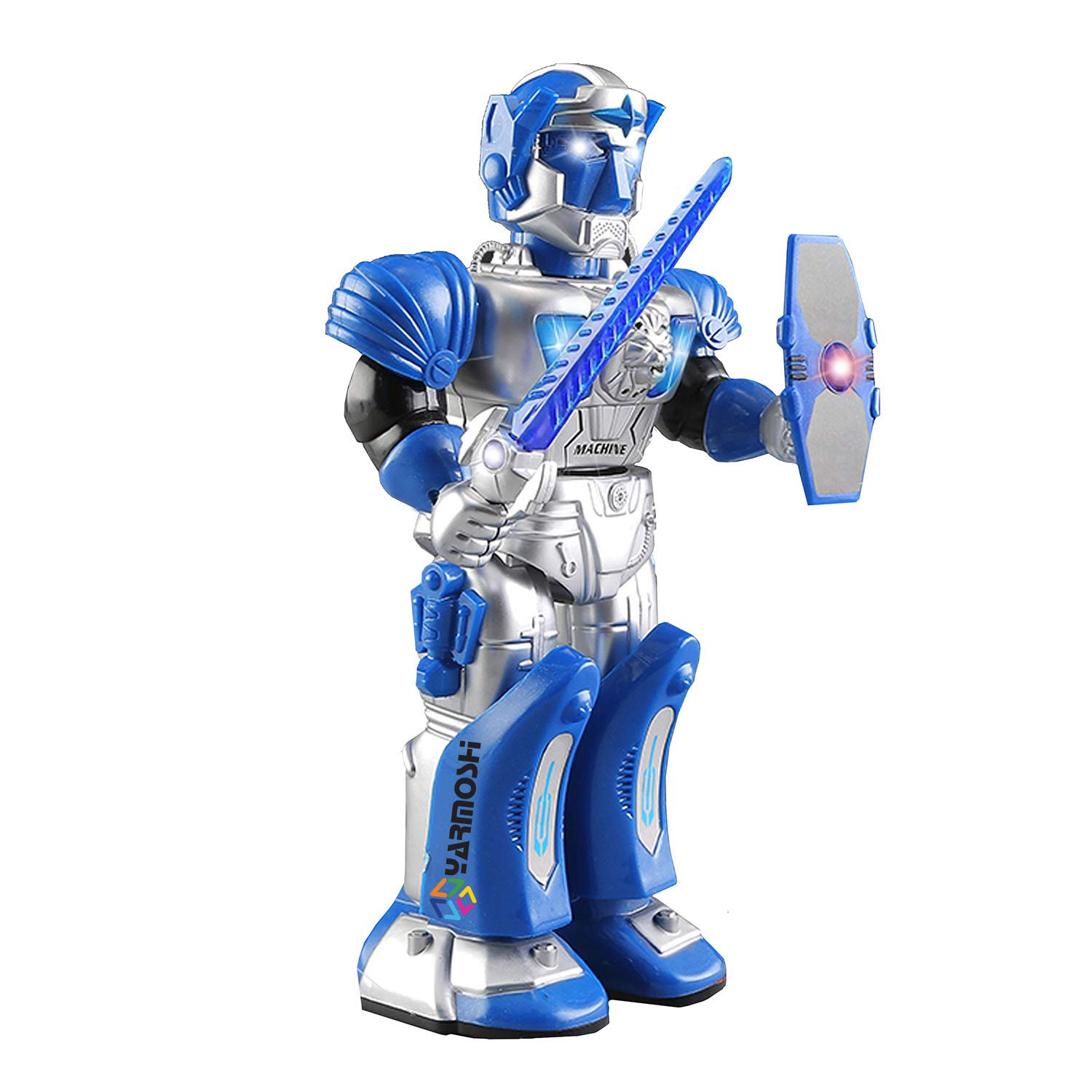 YARMOSHI Walking Robot - Toy with Toy Gun and Firing Sounds. Battery Operated, Has Moving Arms and Flashing Lights. Makes Battle Sounds and Talks. Fun Gift for Girls and Boys Age 2+. (Blue Warrior)