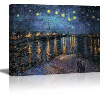 """wall26 Starry Night Over The Rhone by Vincent Van Gogh - Oil Painting Reproduction on Canvas Prints Wall Art, Ready to Hang - 32"""" x 48"""""""