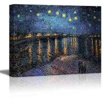 "wall26 Starry Night Over The Rhone by Vincent Van Gogh - Oil Painting Reproduction on Canvas Prints Wall Art, Ready to Hang - 32"" x 48"""