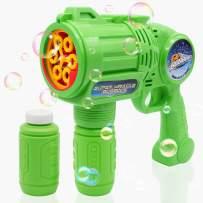 Ultimate Bubble Gun Bubble Blaster – Green Crefun SB9313 Light Up Bubble Blower Safe Durable Simple Handheld Bubble Machine Bubble Toys for Kid Party Favor Birthday Wedding Including 2 Bubble Solution