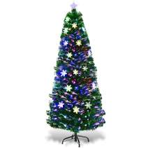 Goplus Pre-Lit Fiber Optic Artificial Christmas Tree, with Multicolor Led Lights and Snowflakes (6 FT)